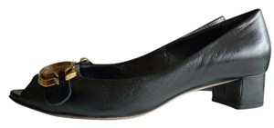 Gucci Peep Toe Low Heel Black Flats