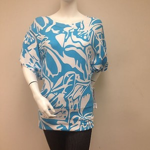 Other Pbj Sport Aqua Blue White Print Kimono Sleeves With Tags Sweater