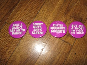 Bachelorette Party Buttons- 5 Piece Set Purple W/white Writing