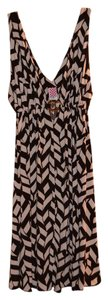 Pink Polka Dot short dress Brown and Nude Print Deep V Chevron Sleeveless on Tradesy