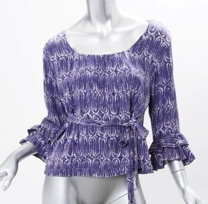 Marni Womens Abstract Print Square Neck Belted Shirt 428 Top Purple