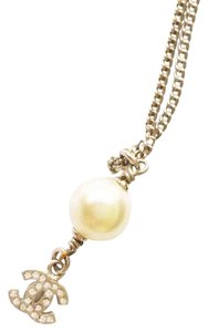 Chanel Authentic Chanel Classic CC Rhinestone Pearl Pendant Necklace