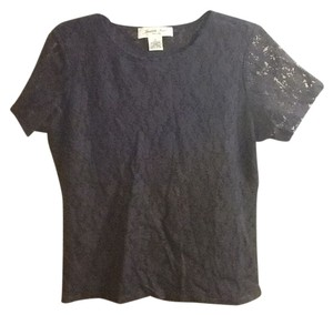Judith Hart Petites Lace Top Dark Blue