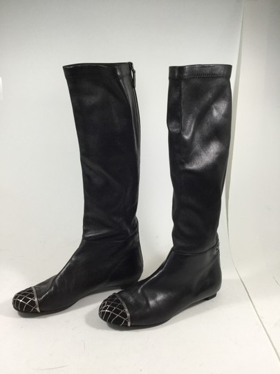 Chanel Metal Quilted Knee High Flat Black Boots