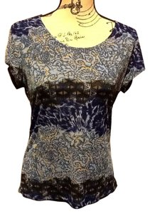 Susan Lawrence Short Sleeve Summer Spring Top Brown/Hues of Blue