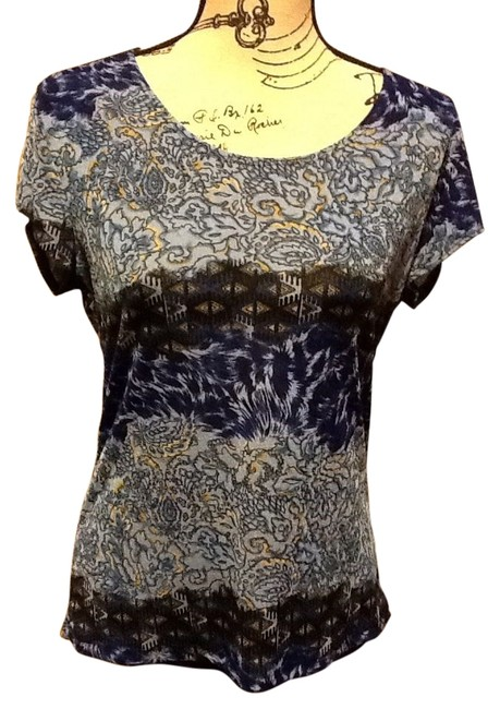 Item - Brown/Hues Of Blue Geometric Pull-over Blouse Size 10 (M)