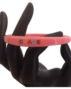 Chanel CHANEL STAMPED '08C PINK LUCITE BANGLE BRACELET