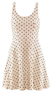 H&M short dress Blush Pink Black Polka Dot Skater Skater Scoop Neck Jersey Knit A-line Tank Scoop Back Low Back Twirling on Tradesy