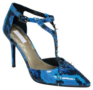Rachel Roy Studded Textured Leather Blue Snake Pumps