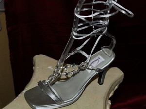 Dyeables Ultimate By Dyeables Goddess Ankle Straps Silver Sandals Open Toe Heels Wedding Shoes