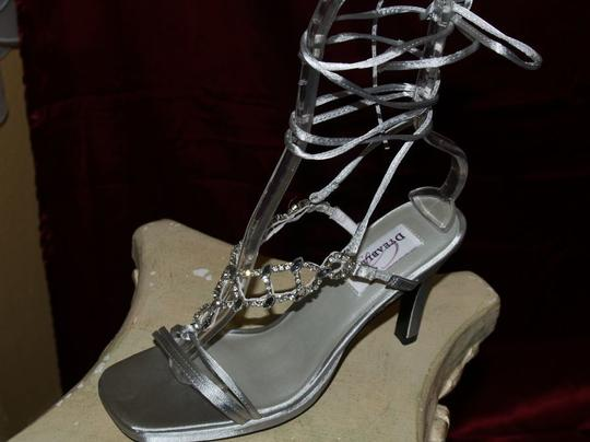 Dyeables Silver Ultimate Goddess Ankle Straps Sandals Open Toe Heels Size US 8