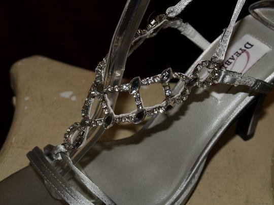 Dyeables Silver Ultimate By Goddess Ankle Straps Sandals Open Toe Heels Size US 8