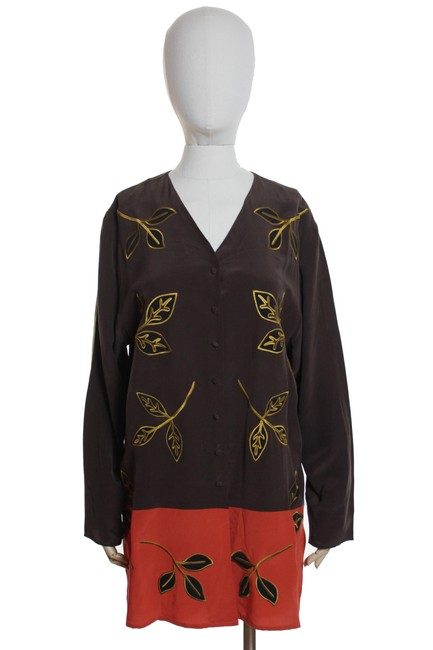 Diane von Furstenberg Embroidered Applique 100%silk Vintage Tunic