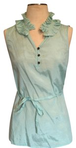 Merona Ruffle Sleeveless Seafoam Teal Dot Polka Dot Workwear Top Light Teal