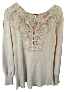 Free People Longsleeve Floral Wool T Shirt Ivory