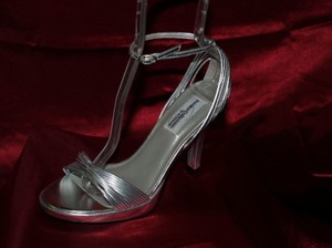 Dyeables Silver Gabby Strappy Heels Prom Formal Size US 8