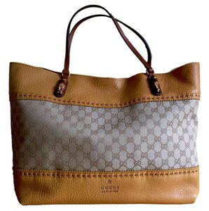 Gucci Large Monogram Leather Italian Made In Italy Tote in Mustard