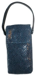 Poppie Jones POPPIE Blue Python Pattern Leather Wristlet