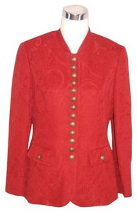Habsburg Kelider Manufaktur Hunting Wool Silk Jacket Mandarin Collar Brass Buttons Red Blazer