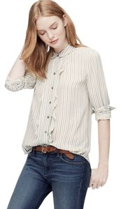 Ann Taylor LOFT Ruffle Workwear Top Cream and Navy