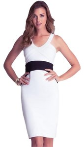 White and Black Maxi Dress by bebe Flattering Striking
