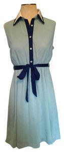 Ya Los Angeles short dress Blues and White Sailor Summer Seafoam Navy Teal Green Belted Bow on Tradesy