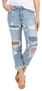 Paper Denim & Cloth Vintage Distressed Cropped Distressed Patched Cuffed Capri/Cropped Denim-Distressed
