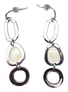 Lia Sophia Lia Sohia Rhodium Silvertone Mother of Pearl Drop Earrings