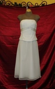 Jordan Fashions White Chiffon Short & Strapless Bridal Gown Casual Wedding Dress Size 8 (M)