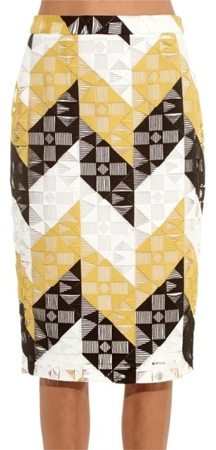 A.L.C. Skirt Citron (yellow), black and white crochet