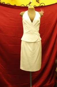 Jordan Fashions White Satin By Halter Short Bridal Gown Destination Wedding Dress Size 2 (XS)