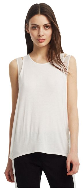 Kenneth Cole Mesh Inset Jersey Rayon Hi Low Knit Top White