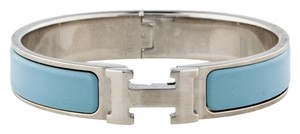 Hermès Palladium light blue enamel Herms Clic Clac H Narrow Bracelet