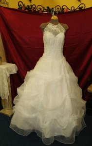 Light Ivory High Neck Full Skirt Bridal Gown Wedding Dress