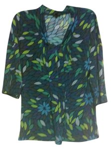 Nine West Flowy Bright Comfortable Classic Top Black with Shades of Green, Blue and Brown with Geometric Floral Pattern