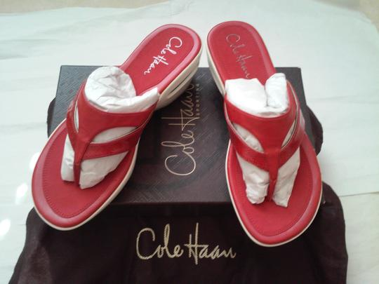 Cole Haan Leather Red/White Sandals