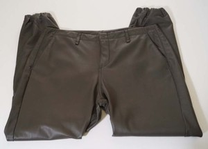 Rag & Bone Womens Olive Lamb Leather Cropped Jog Pajama Pants