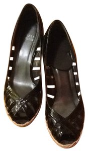 Stuart Weitzman Patent Cut-out Summer Black Patent Wedges