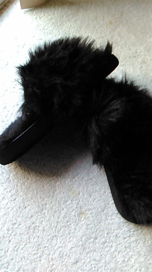 Other Black Faux Fur Embellished Mules size 6 Mules