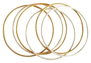 Independent Clothing Co. Six Gold Silver Brushed Metal Bangles