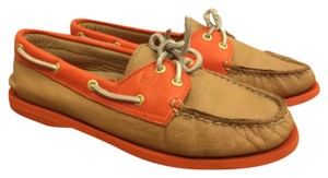 Sperry Leather Unique Boat Water Orange Tan/orange Flats