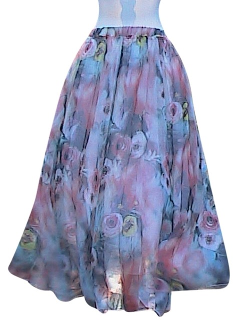 Other W/O Tag Chiffon Maxi Skirt Print