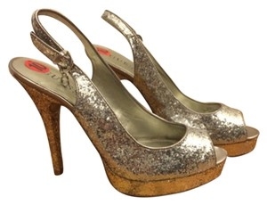 Guess Glitter Gold Silver Club Party Cocktail Silver/gold Glitter Platforms