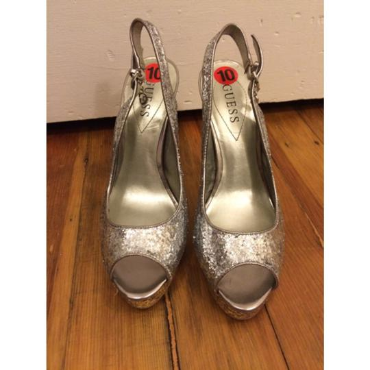 Guess Club Party Cocktail Silver/gold Glitter Platforms