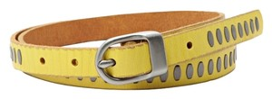 Fossil Fossil Brand Citrus Yellow Rivet Centerbar - M - Leather Belt