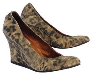 Lanvin Beige Leopard Print Leather Wedges