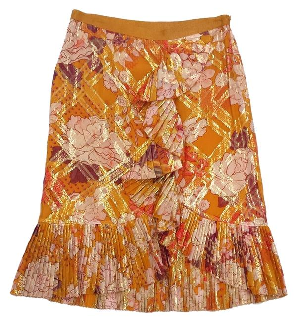 Tory Burch Floral Print Silk Pleated Skirt