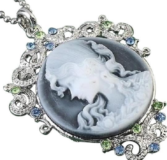 Preload https://item1.tradesy.com/images/silver-tone-handcrafted-cameo-with-gemstones-includes-sterling-chain-necklace-4680670-0-2.jpg?width=440&height=440