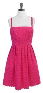 Shoshanna short dress Fuchsia Eyelet Cotton Spaghetti Strap on Tradesy