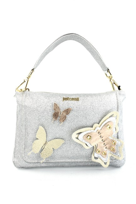 Item - Butterfly Embellished Silver Leather Clutch